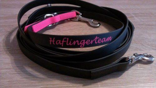 Equi-Longe in schwarz mit pinkem Besatz