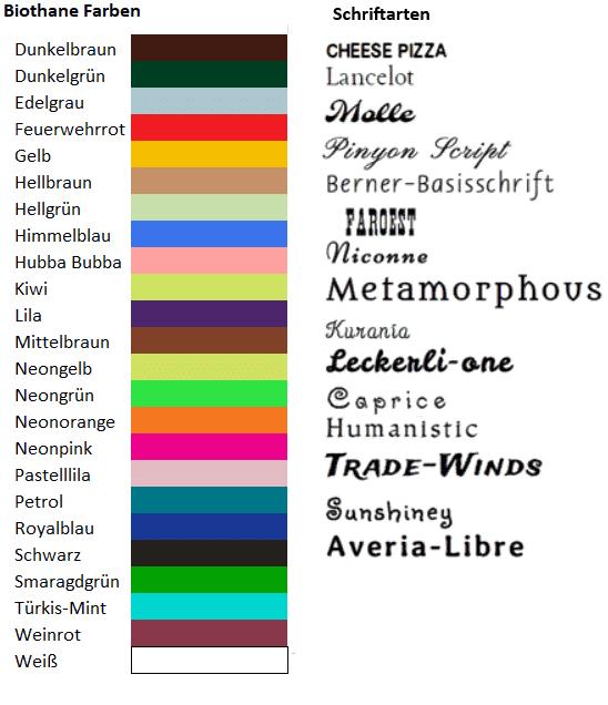 Biothane-Farben